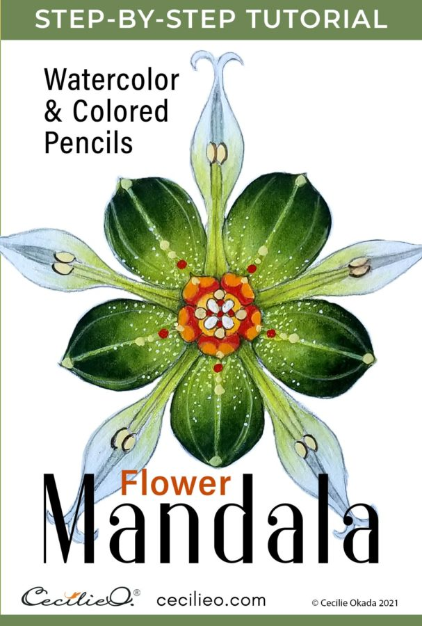 The easy mandala in this tutorial has no intricate, multi-layered patterns. It is a flower. Learn how to watercolor it.
