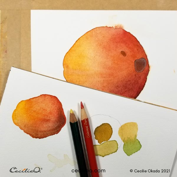 Testing how colored pencils will behave on the watercolors.