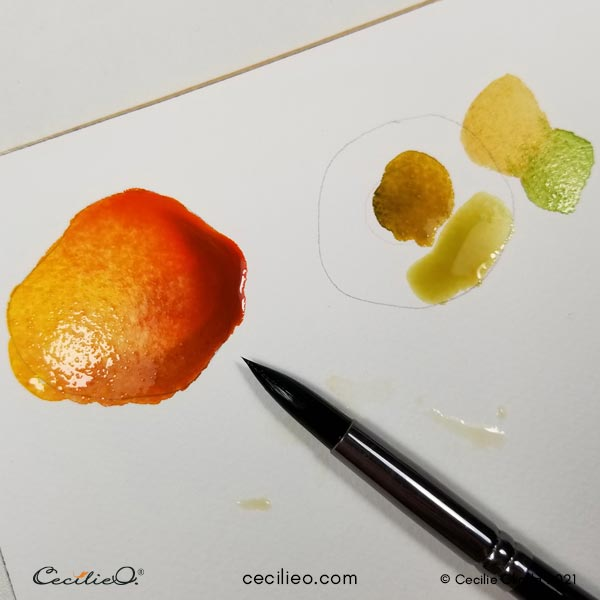 Testing out blending of watercolors to paint the pumpkin.