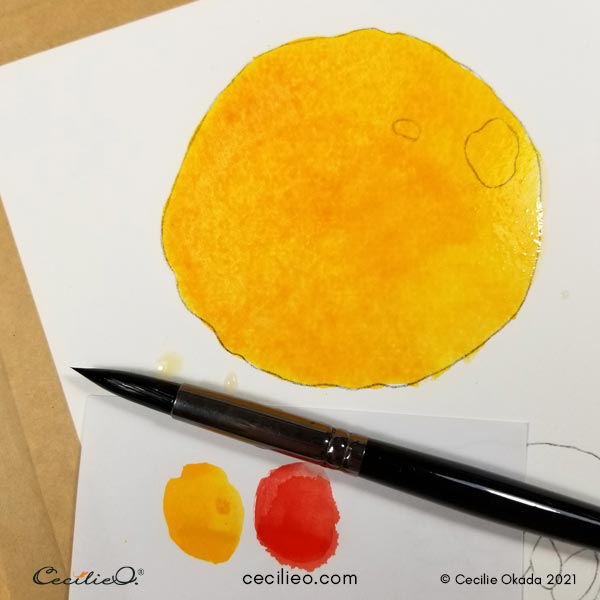 First sun-yellow watercolor base.