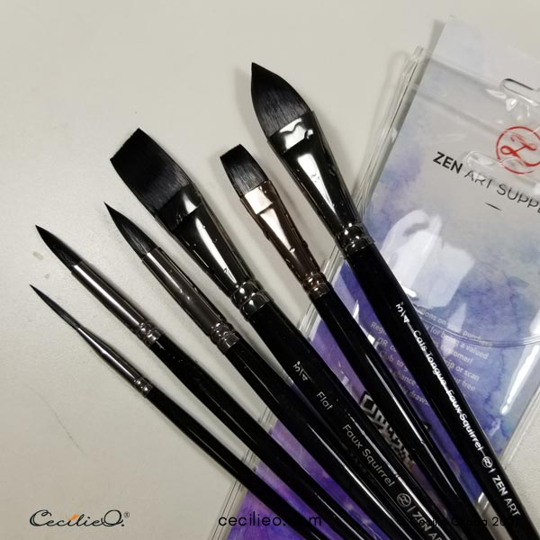 My new set of watercolor brushes from ZenART Supplies.