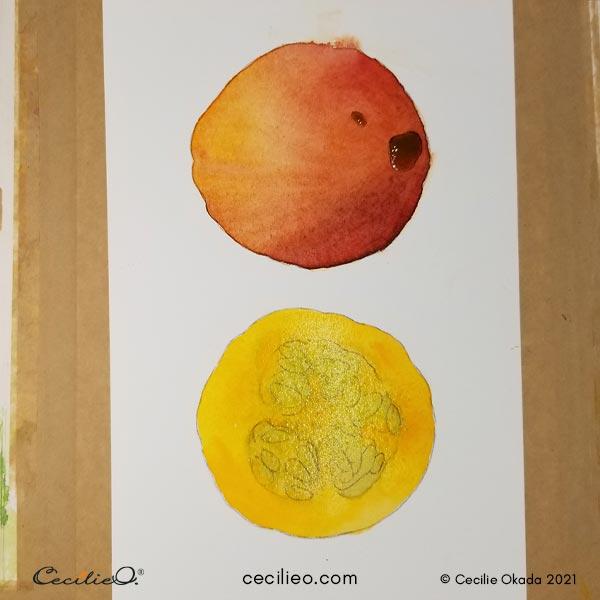 Blending in yellow for the cut pumpkin.